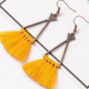 3/$20 New Copper & Yellow Tassel Dangle Earrings